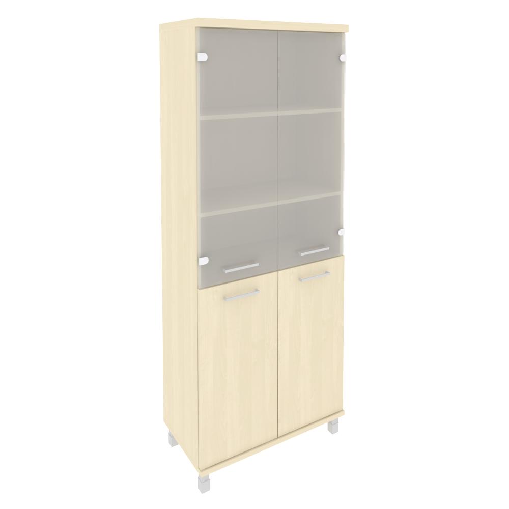 Шкаф высокий широкий (2 низкие двери ЛДСП, 2 средние двери стекло) KST-1.2 клен