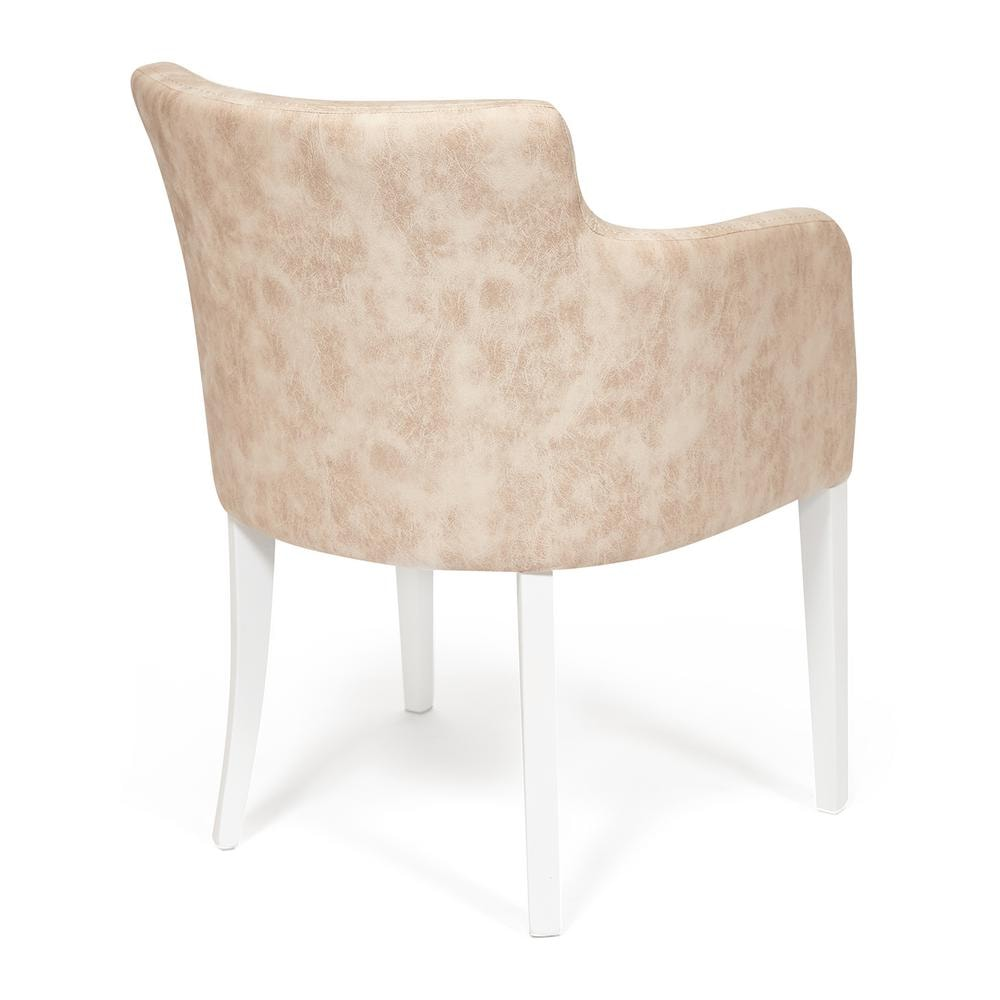 Кресло KNEZ Бук, 650*650*600, ножки: белый, ткань бежевый (mega office 12)
