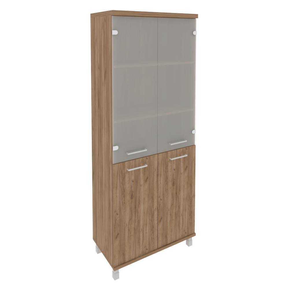 Шкаф высокий широкий (2 низкие двери ЛДСП, 2 средние двери стекло) KST-1.2 Дуб Табак