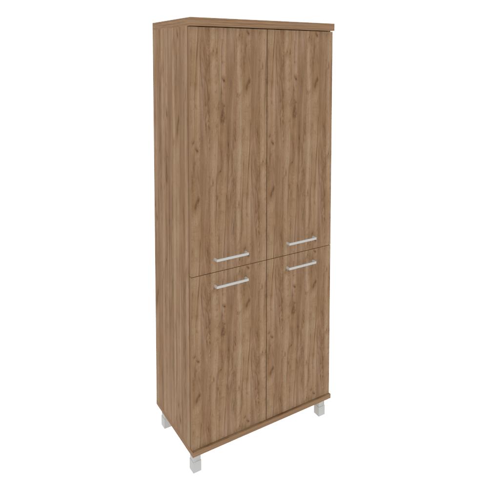 Шкаф высокий широкий (2 низкие двери ЛДСП, 2 средние двери ЛДСП) KST-1.3 Дуб Табак