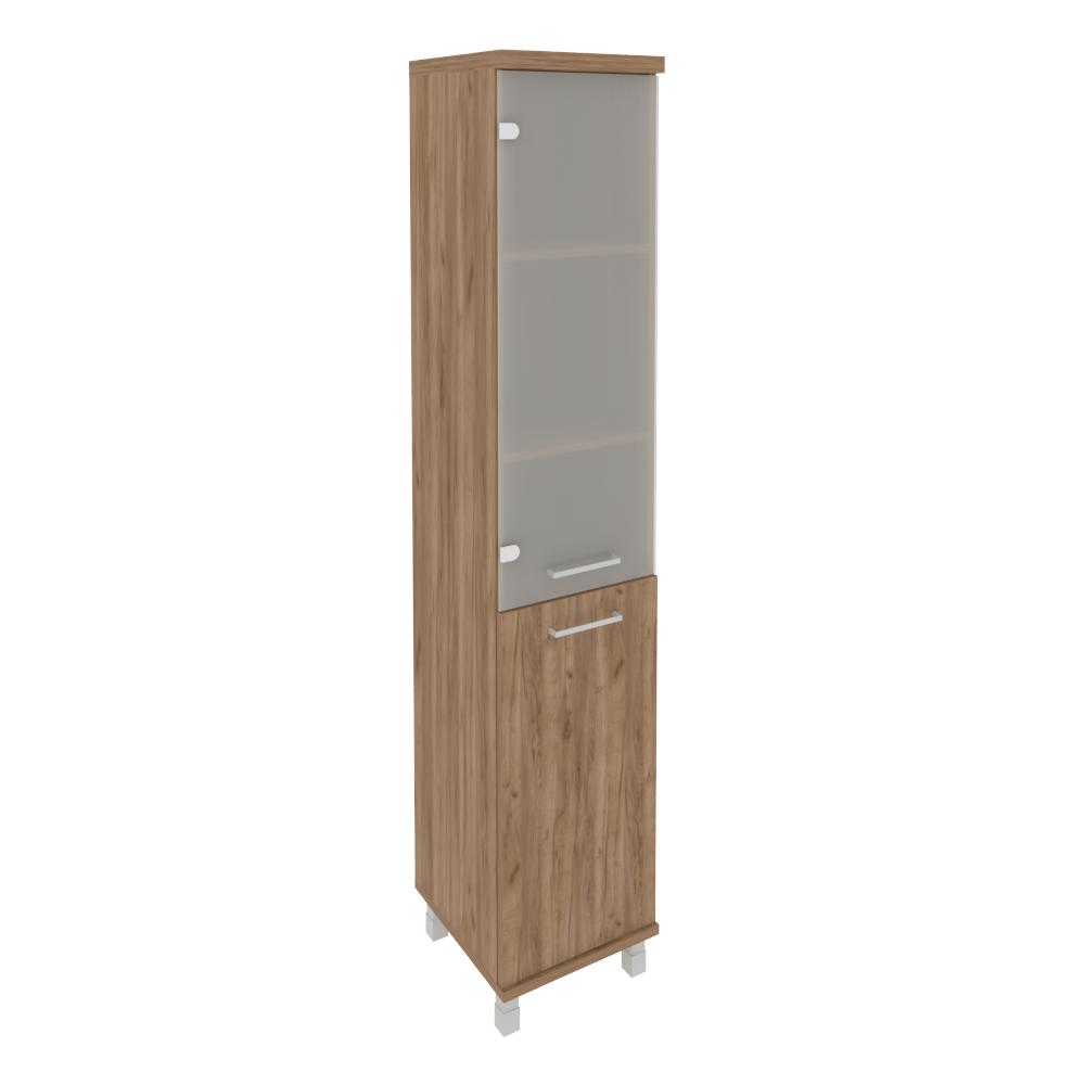 Шкаф высокий узкий левый (1 низкая дверь ЛДСП, 1 средняя дверь стекло) KSU-1.2 Дуб Табак