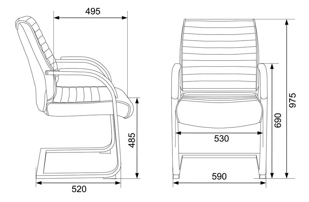 Кресло для посетителей Бюрократ T-8010N-LOW-V слоновая кость OR-10 искусственная кожа низк.спин. полозья металл хром