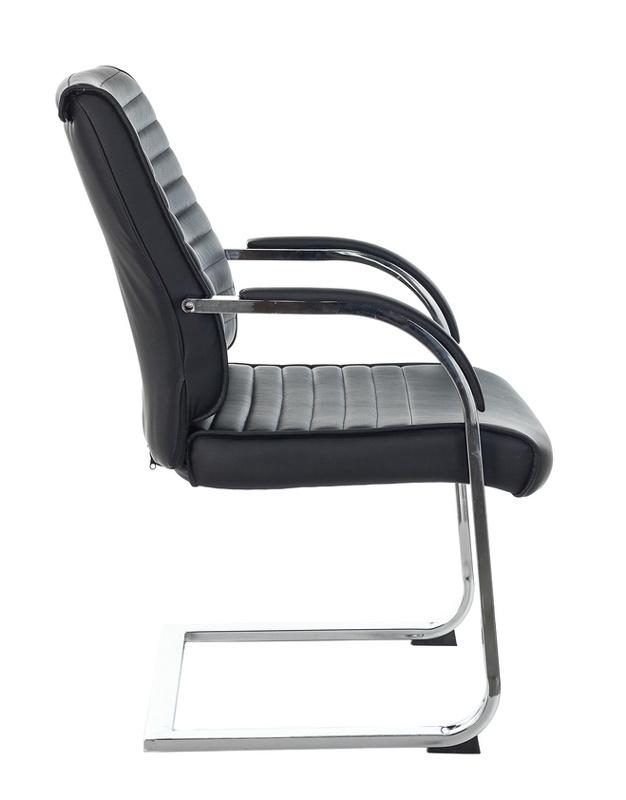 Кресло Бюрократ T-8010N-LOW-V черный Leather Black искусственная кожа низк.спин. полозья металл хром