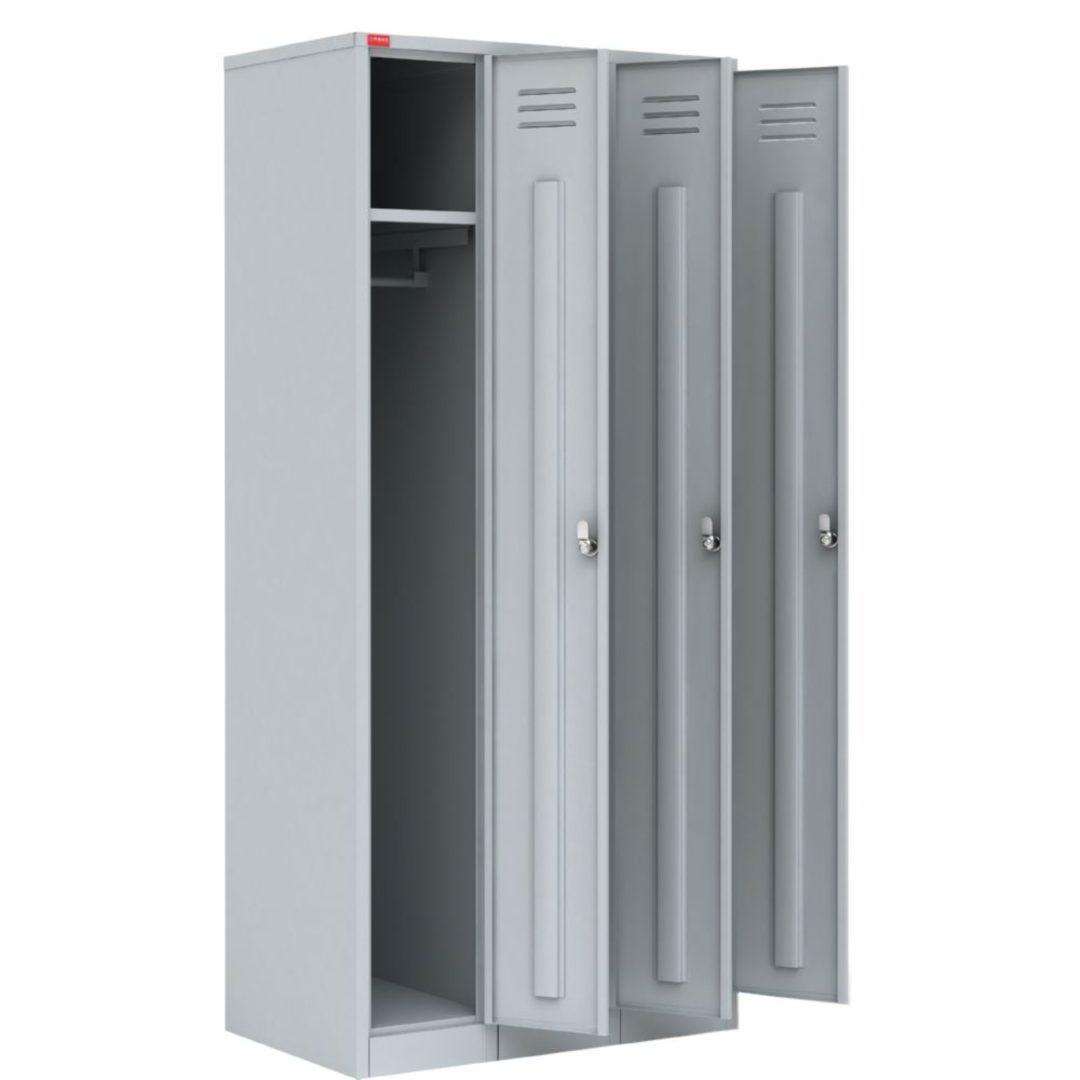 Трехсекционный металлический шкаф для одежды ШРМ – 33