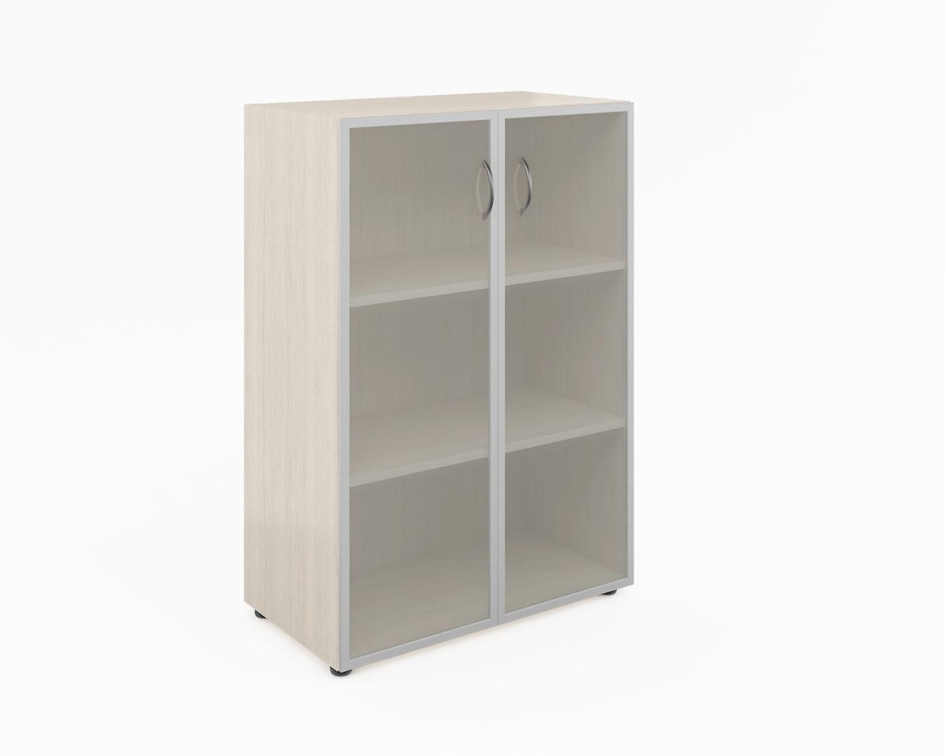 Шкаф широкий средний со стеклом в алюм. раме (без топа)  ФР-5.0+S60.0*2+С504*2