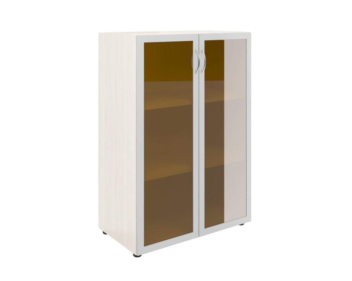 Шкаф широкий средний со стеклом в алюм. раме (без топа)  ФР-5.0+60.0*2+С504*2