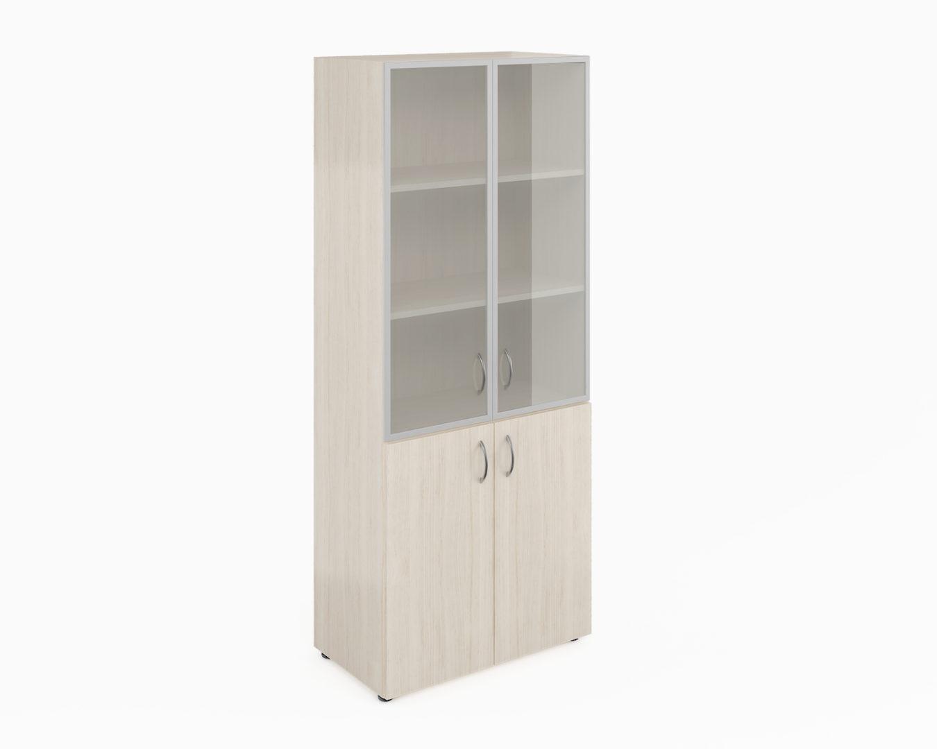 Шкаф широкий высокий со стеклом в алюм. раме (без топа) ФР-6.0+8.0+S60.0*2+С504*2