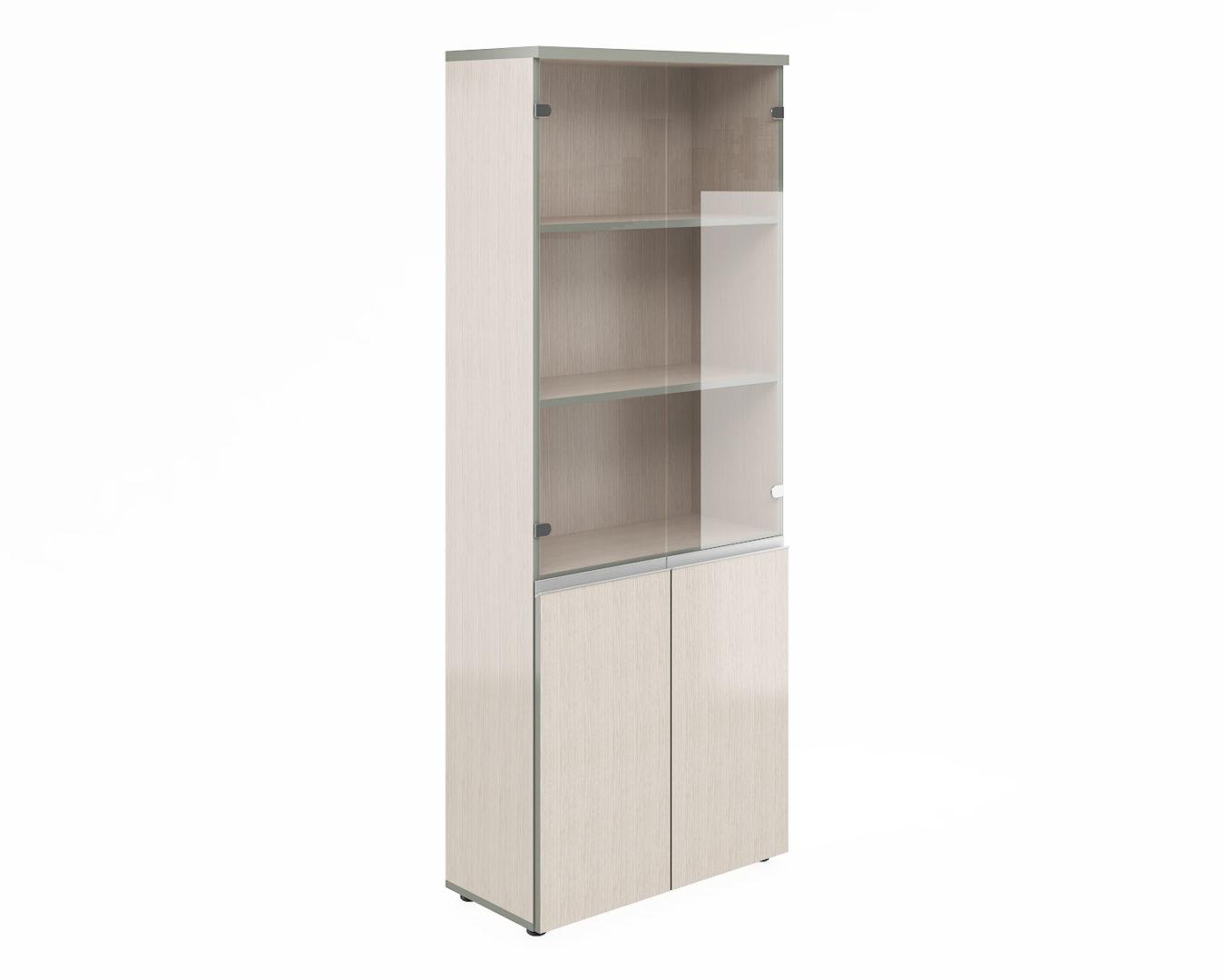 Шкаф широкий высокий со стеклом V-2.2+4.0+4.3+V*2