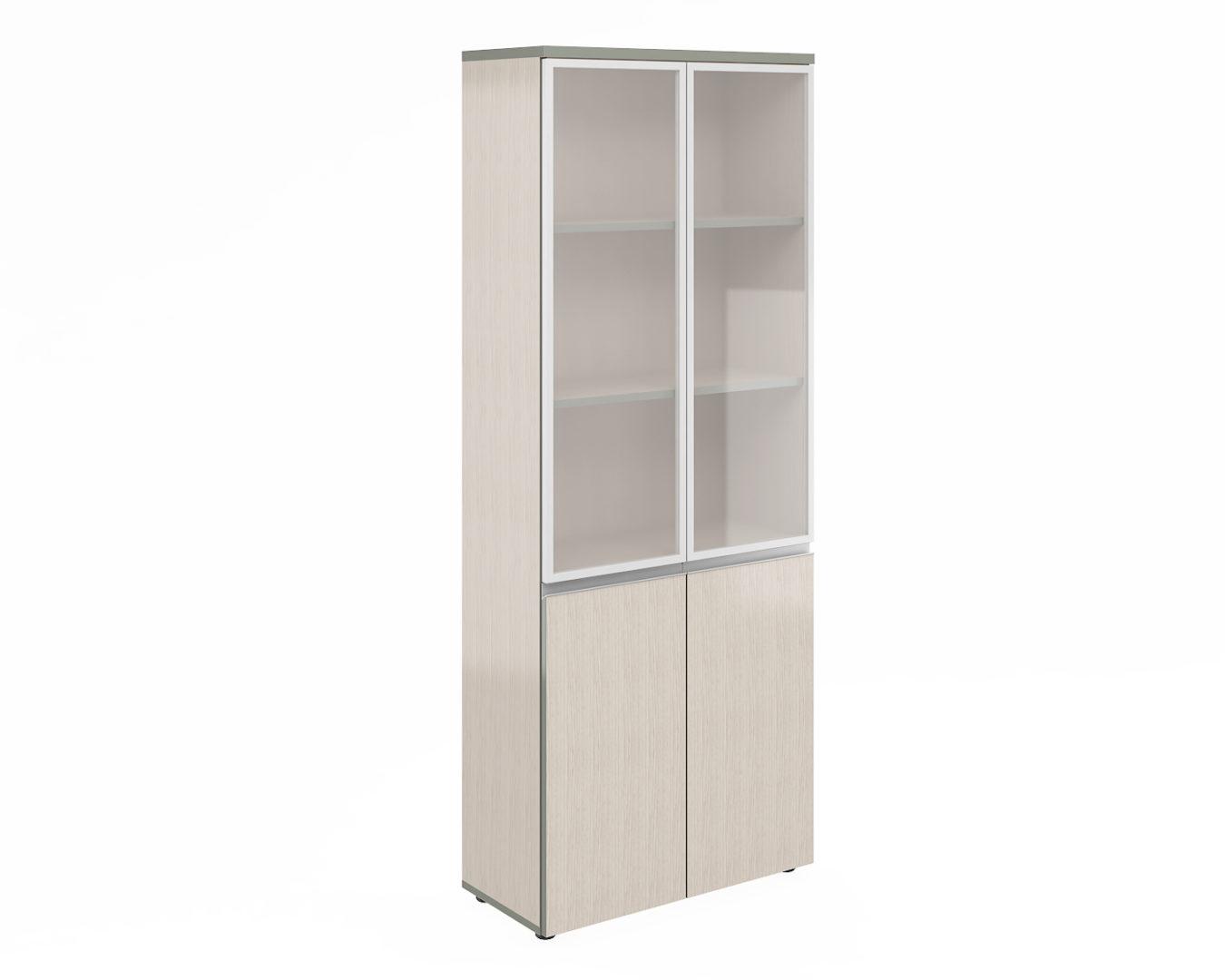 Шкаф широкий высокий со стеклом алюм. раме V-2.2+4.0+4.4.1*2+ручки