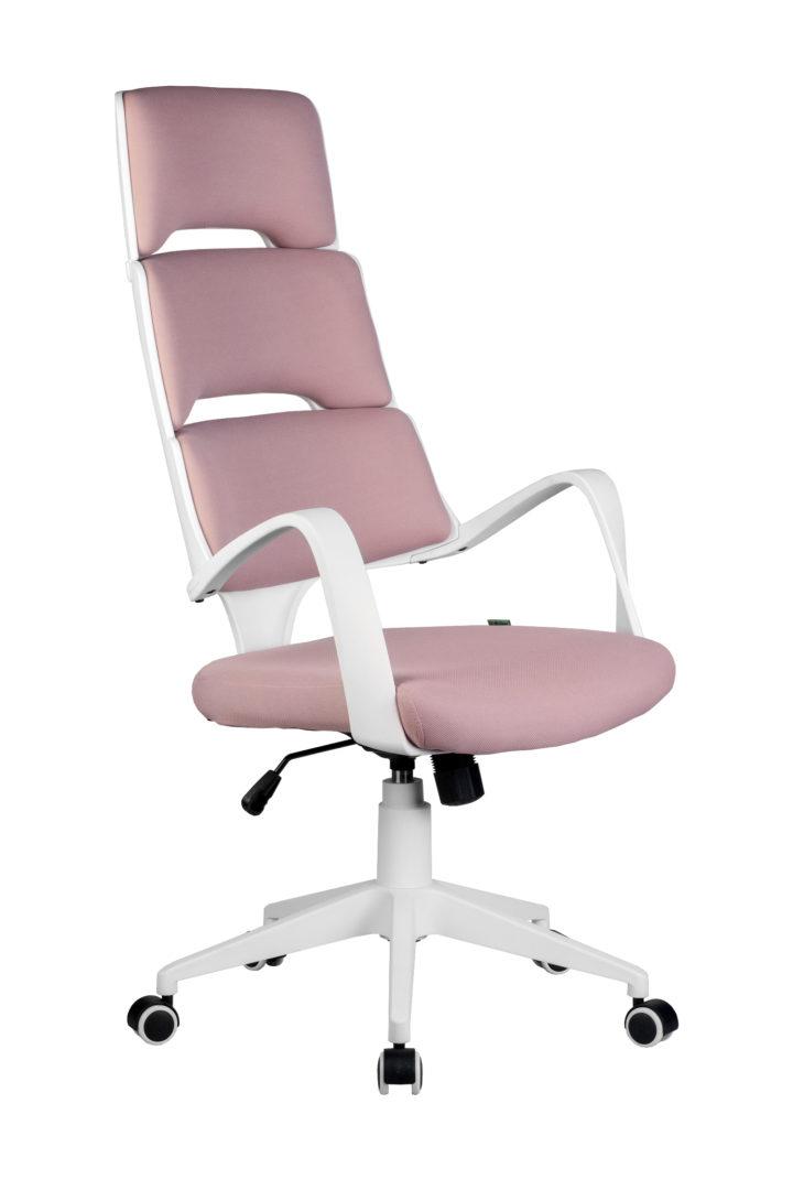 Кресло офисное SAKURA белый пластик розовая ткань