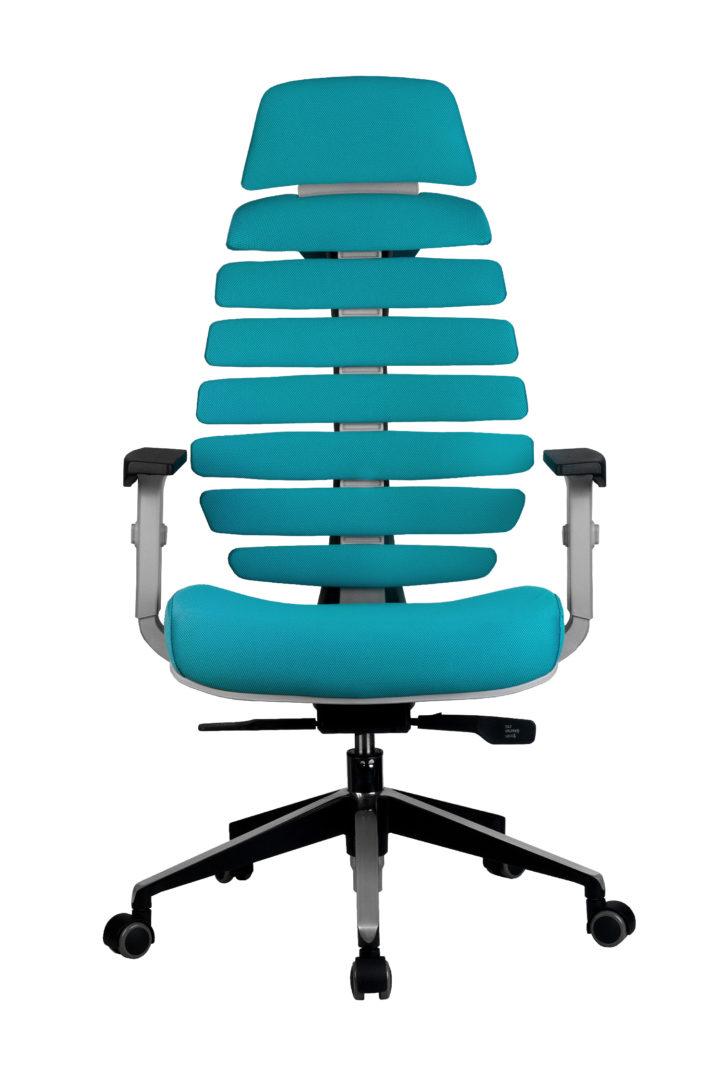 Кресло офисное SHARK серый пластик, ткань лазурная