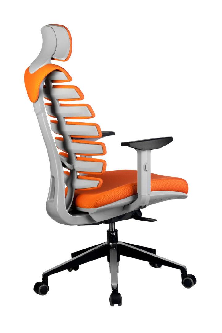 Кресло офисное SHARK серый пластик, ткань оранжевая