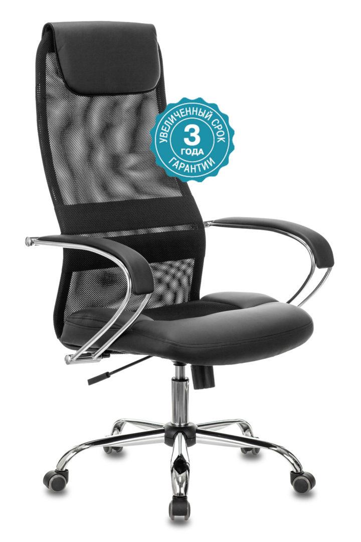 Кресло руководителя Бюрократ CH-608SL/BLACK спинка сетка черный TW-01 TW-11 искусственная кожа/ткань крестовина хром