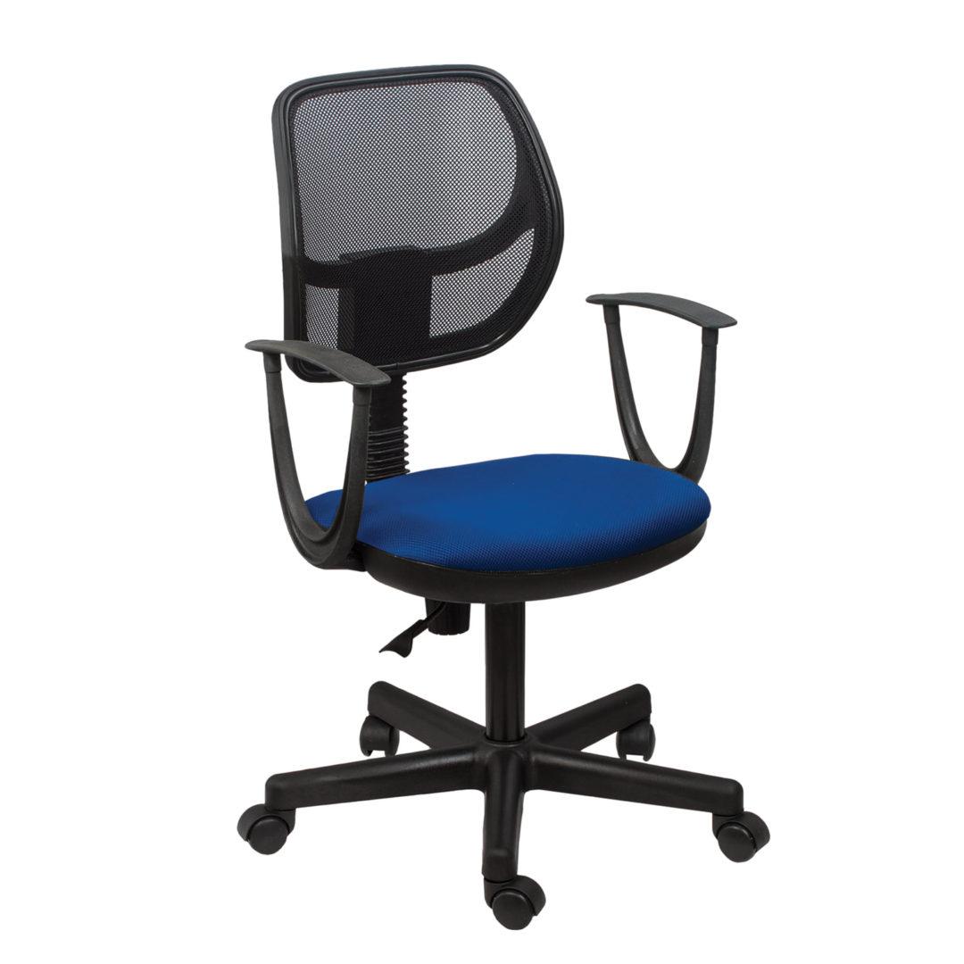 """Кресло BRABIX """"Flip MG-305"""", до 80 кг, с подлокотниками, комбинированное синее/черное TW, 531415"""
