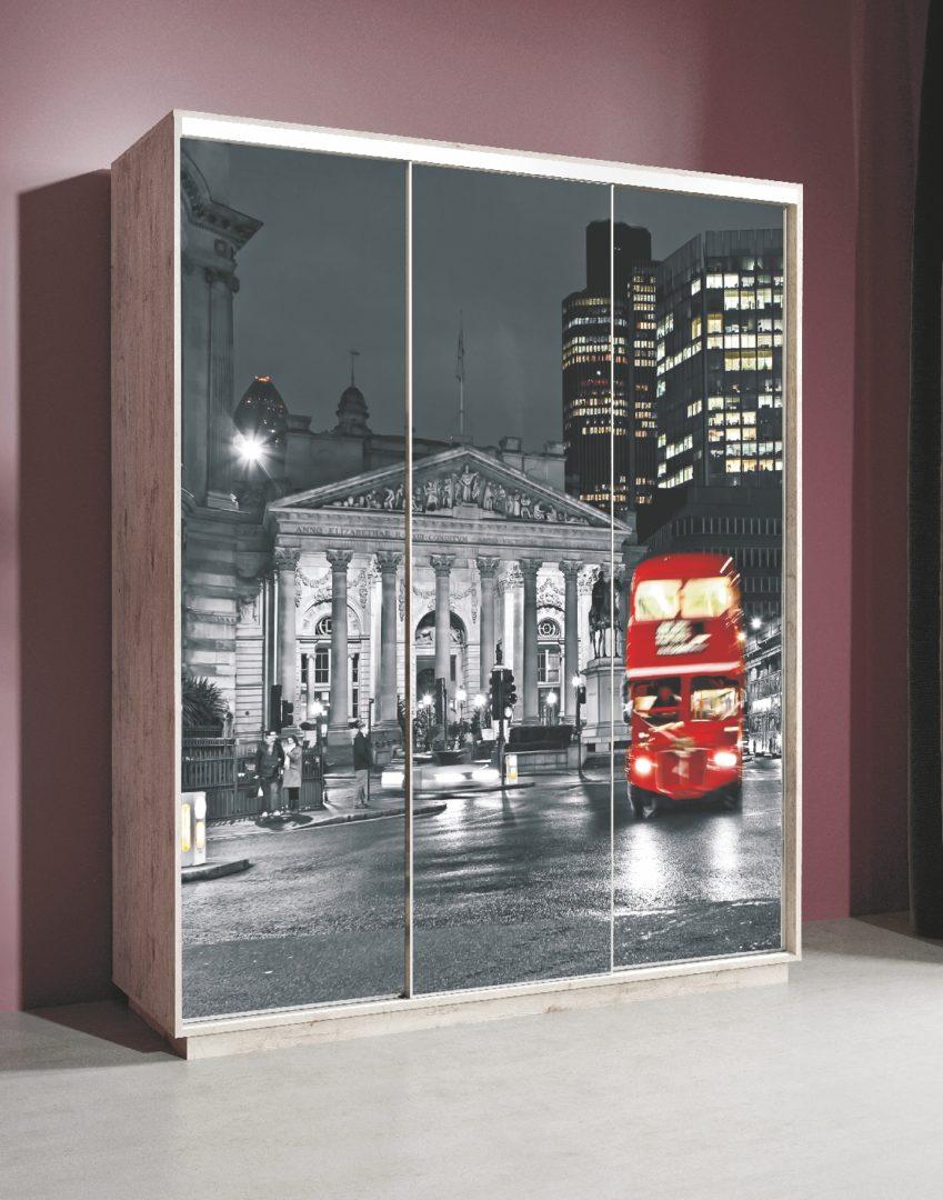 """Шкаф-купе Леон 2 с фотопечатью на стекле """"Лондон"""" 1770"""