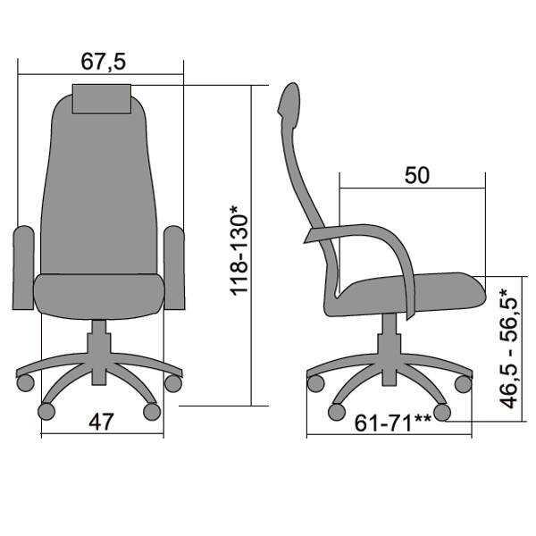 Кресло  Галакси Лайт BK-8 Pl темно-серый
