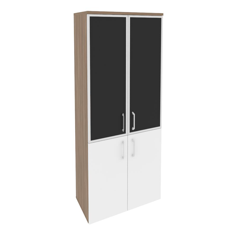 Шкаф высокий широкий (2 низких фасада ЛДСП + 2 средних фасада стекло лакобель в раме)O.ST-1.2R black