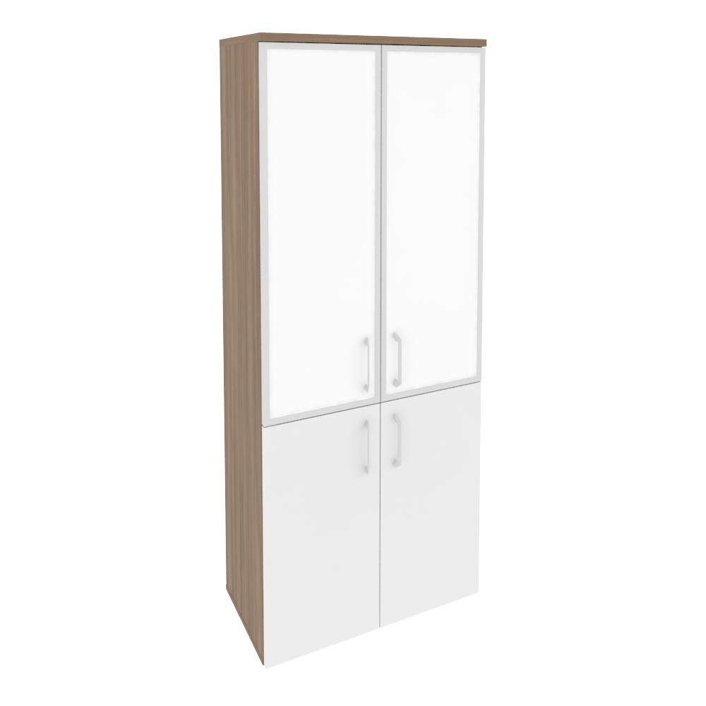 Шкаф высокий широкий (2 низких фасада ЛДСП + 2 средних фасада стекло лакобель в раме)O.ST-1.2R white