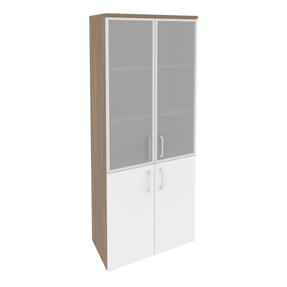 Шкаф высокий широкий (2 низких фасада ЛДСП + 2 средних фасада стекло в раме)O.ST-1.2R