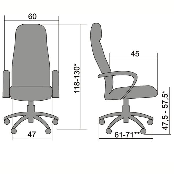 Кресло Metta BK-2 хром эко-кожа чёрный