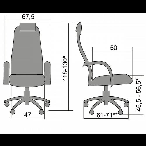 Кресло Metta BK-10 хром серое