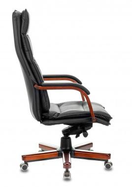 Кресло руководителя Бюрократ T-9927WALNUT черный кожа крестовина дерево