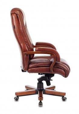 Кресло руководителя Бюрократ T-9925WALNUT светло-коричневый Leather Eichel кожа крестовина дерево