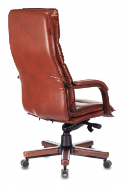 Кресло руководителя Бюрократ T-9927WALNUT светло-коричневый Leather Eichel кожа крестовина дерево