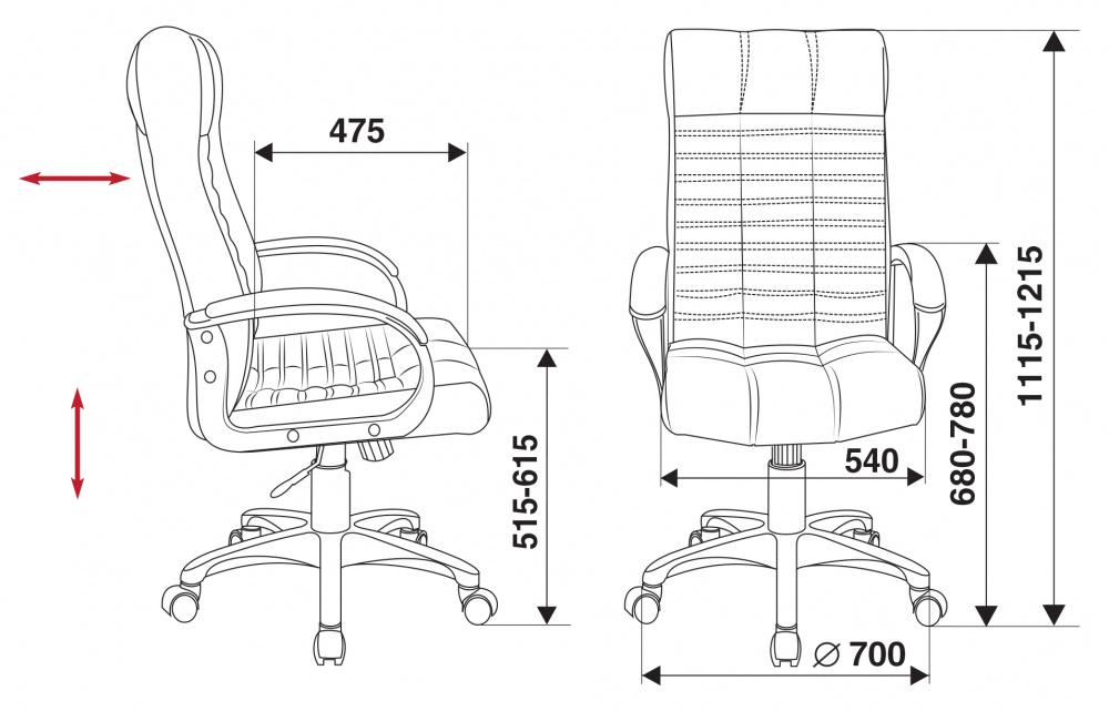 Кресло для руководителя Бюрократ KB-10 черный искусственная кожа крестовина пластик
