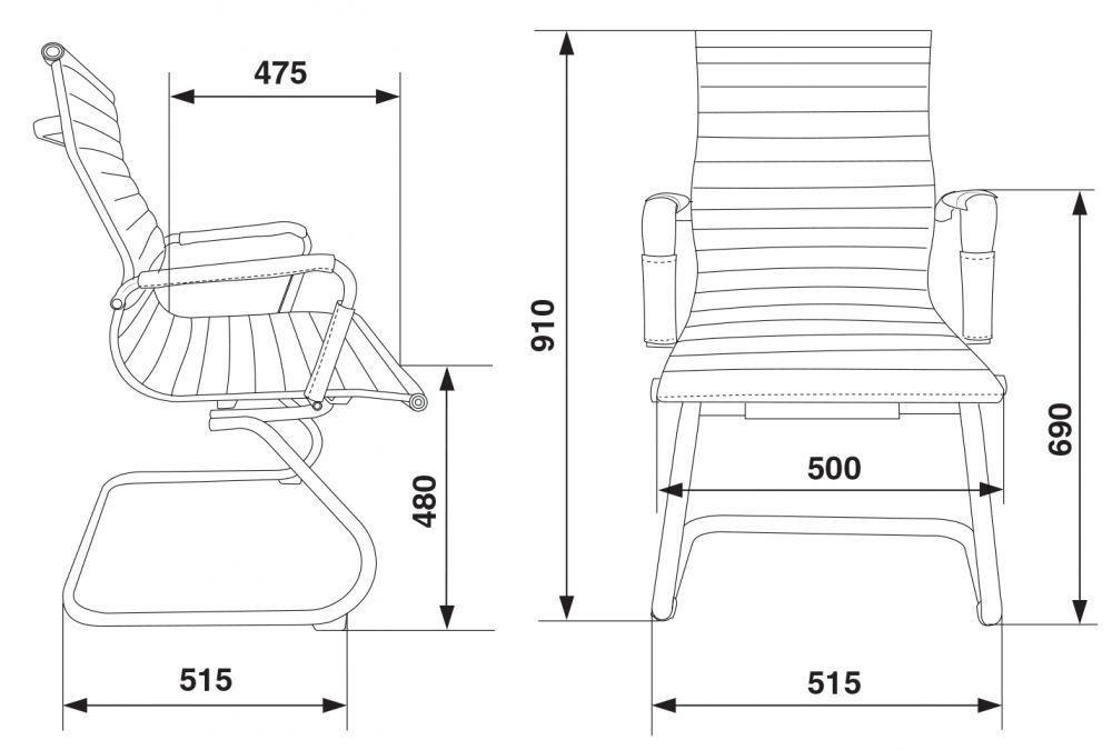 Кресло Бюрократ CH-883-LOW-V слоновая кость искусственная кожа низк.спин. полозья металл хром