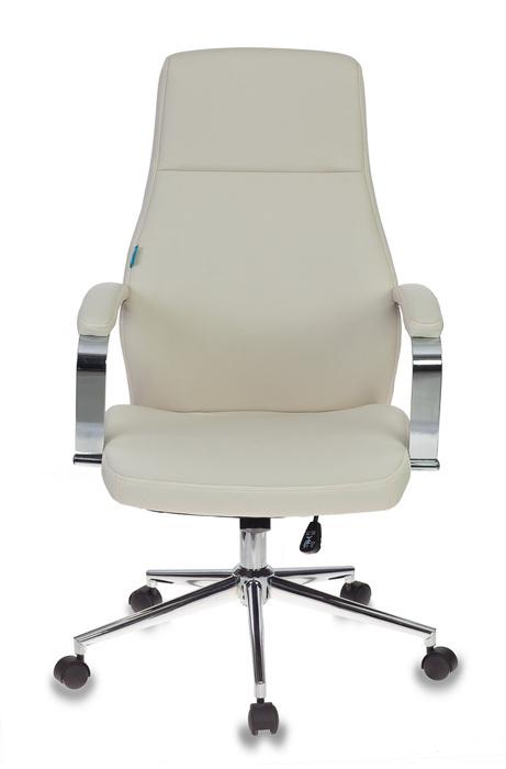 Кресло для руководителя Бюрократ T-703SL молочный искусственная кожа крестовина металл хром