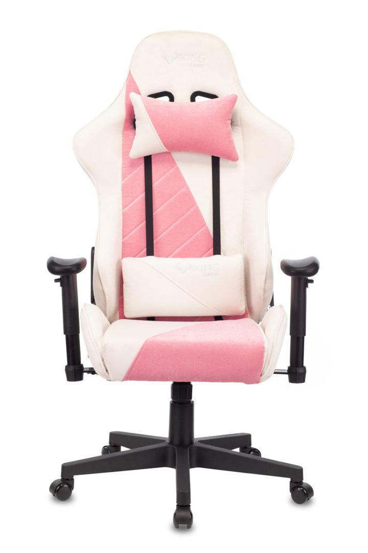 Кресло игровое Бюрократ VIKING X Fabric белый/розовый с подголов. крестовина пластик