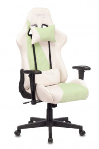Кресло игровое Бюрократ VIKING X Fabric белый/зеленый