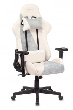 Кресло игровое Бюрократ VIKING X Fabric белый/серо-голубой с подголов. крестовина пластик