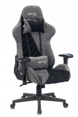 Кресло игровое Бюрократ VIKING X Fabric серый/черный с подголов. крестовина пластик