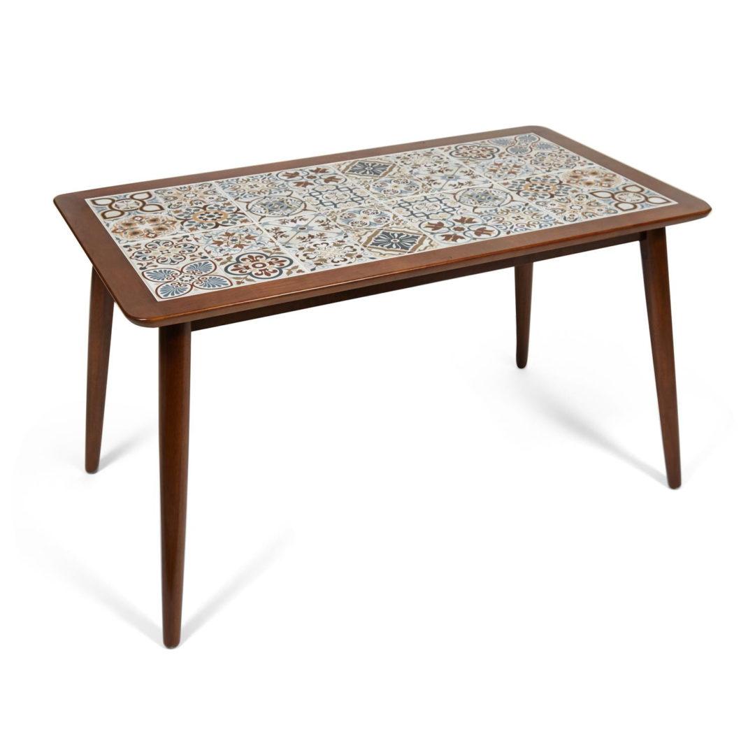 CT3052 Tanger стол с плиткой дерево гевея/плитка, 74*134*75см, Тёмный Дуб, рисунок – марокко