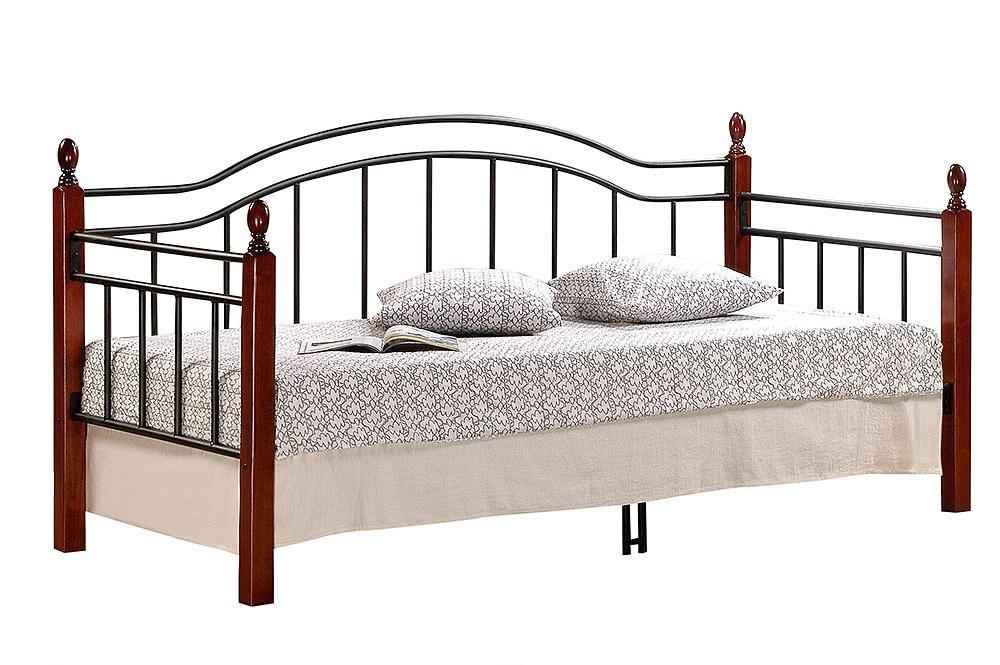 Кровать LANDLER дерево гевея/металл, 90*200 см (Day bed), красный дуб/черный