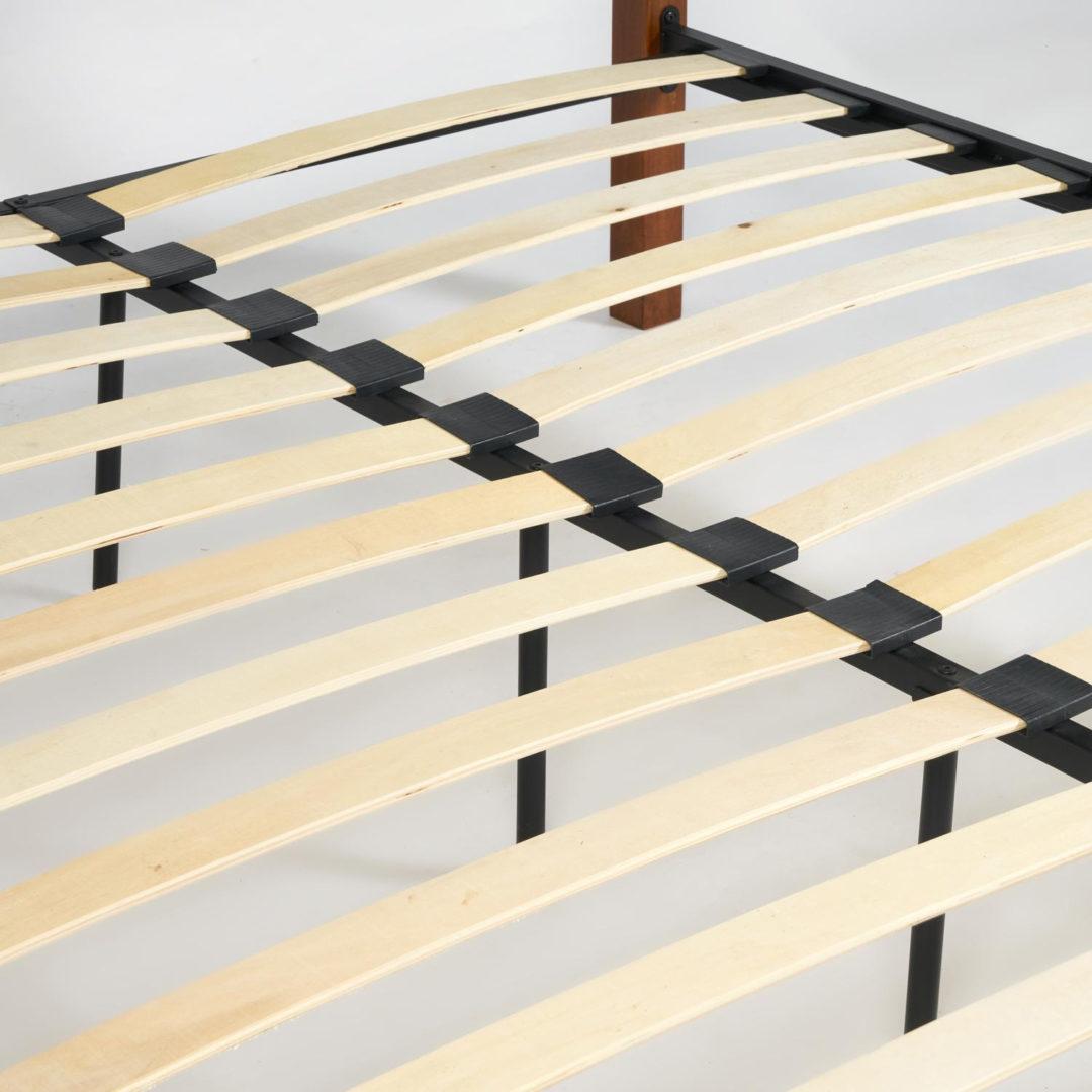 Кровать EUNIS (AT-9220) Wood slat base дерево гевея/металл, 160*200 см (Queen bed), красный дуб/черный
