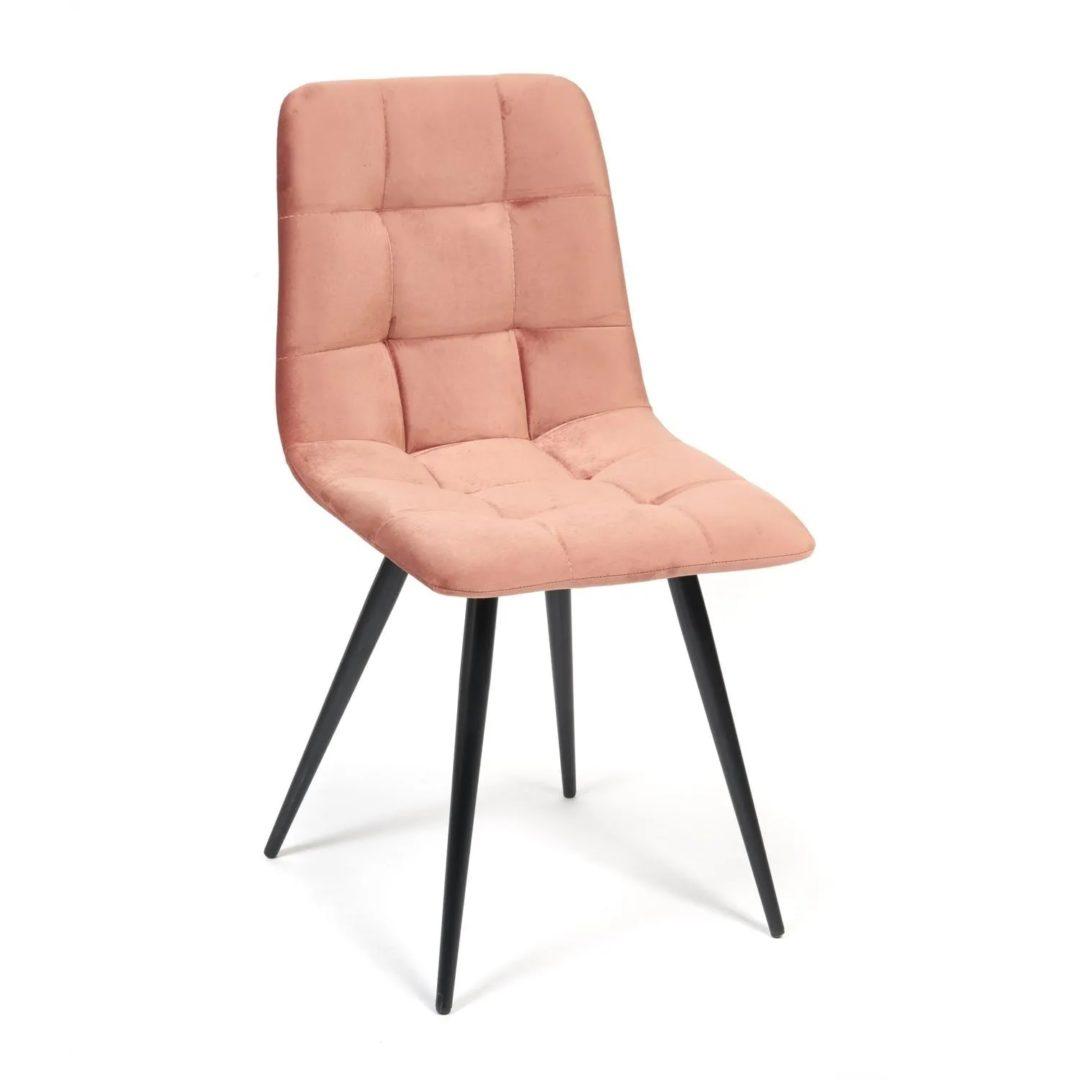 Стул CHILLY (mod. 7095) ткань/металл, 53х47х88 см, высота до сиденья 50 см, коралловый barkhat 15 /черный (14326)
