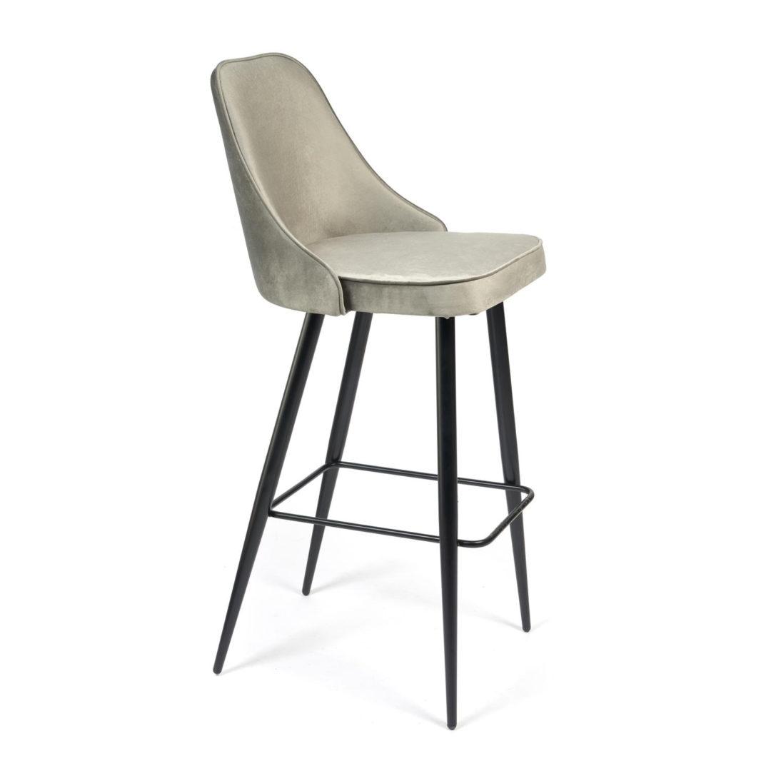 Стул барный kish (mod. 714) ткань/металл, 50х57х110 см, высота до сиденья 78 см, серый barkhat 26/черный
