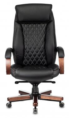 Кресло руководителя Бюрократ T-9924WALNUT черный кожа с подголов. крестовина металл/дерево