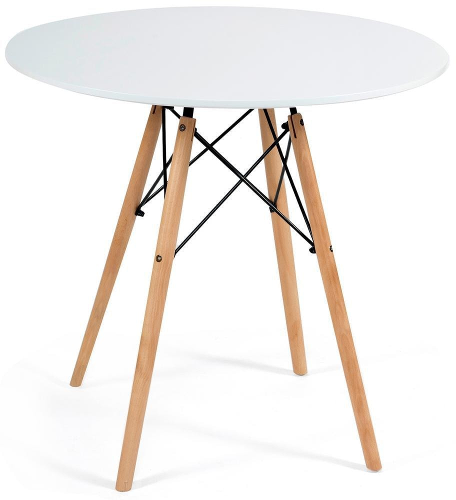 Стол CINDY NEXT (mod.80-MDF) металл/мдф/бук, D80х75см, белый/натуральный (13067)