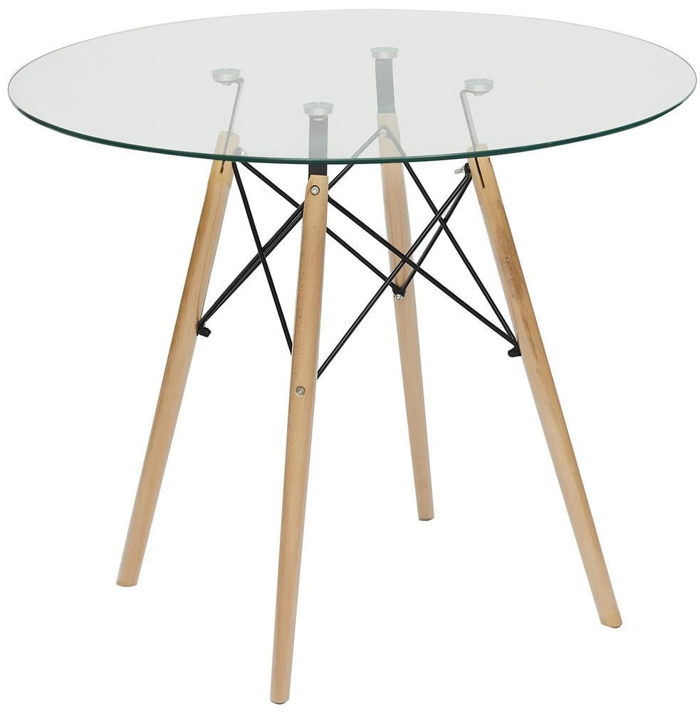 Стол CINDY GLASS (mod.80GLASS) металл/стекло, D80х75см, прозрачный (13068)