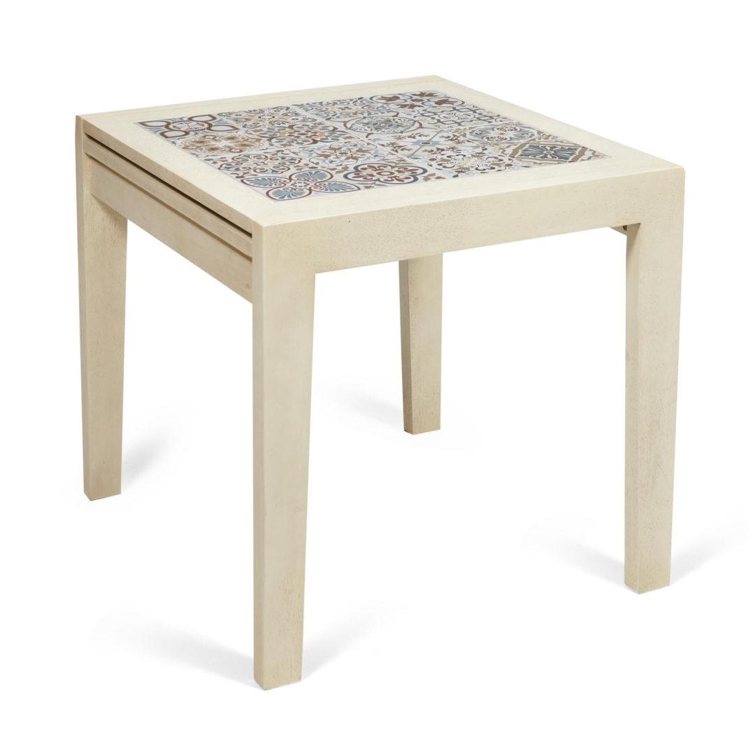 CT 3030 Kasablanca стол раскладной с плиткой дерево гевея/плитка, 73,5*73,5*75+73,5см , античный белый, рисунок – марокко (13803)