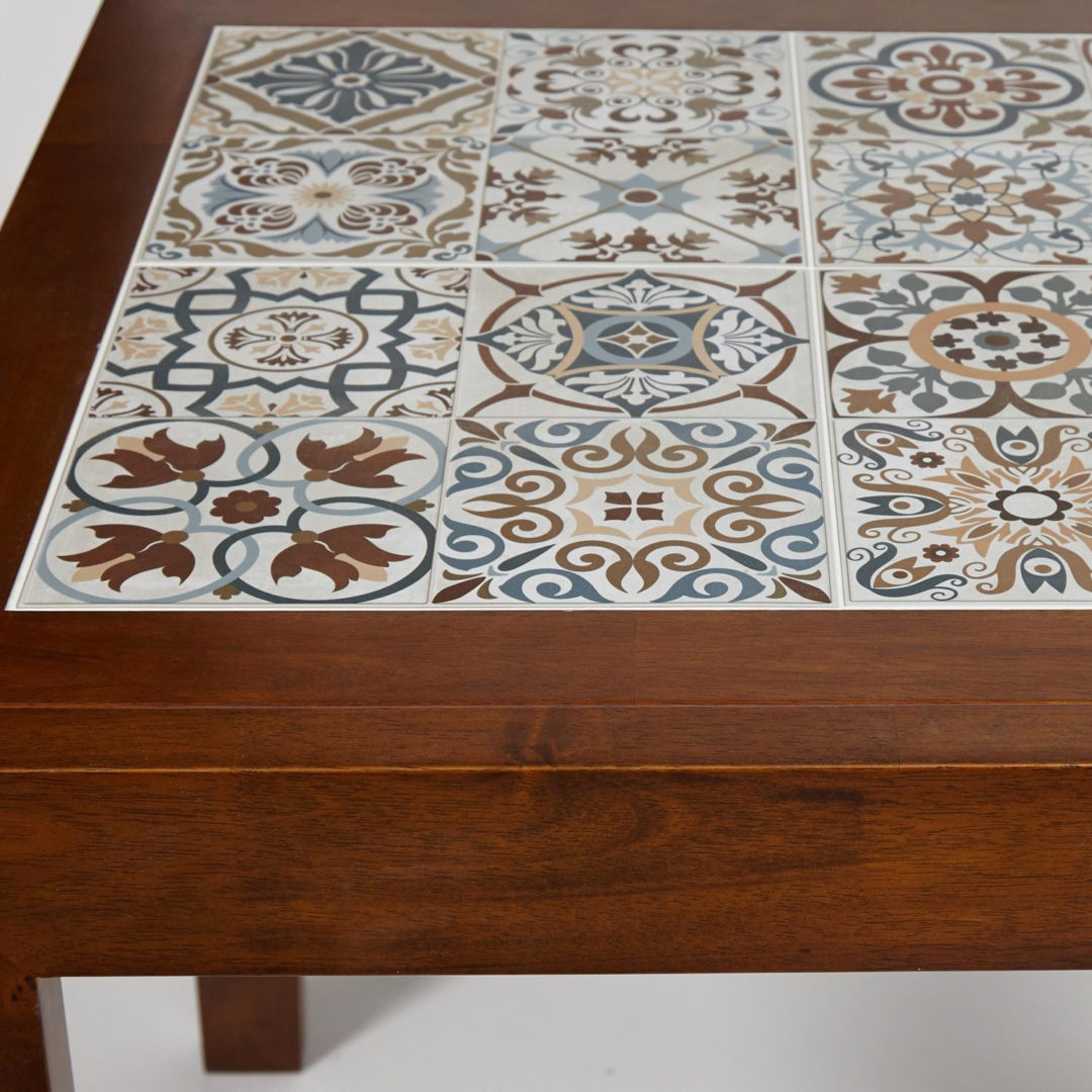 CT 3030 Kasablanca стол раскладной с плиткой дерево гевея/плитка, 73,5*73,5*75+73,5см , Тёмный Дуб, рисунок – марокко (13804)