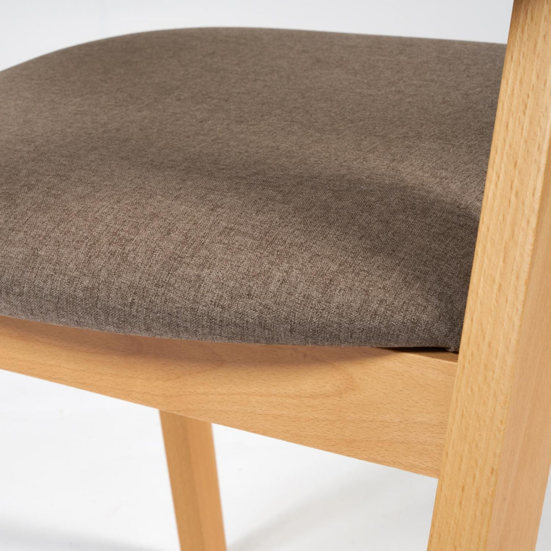Стул мягкое сидение VERSA (Верса) каркас бук, сиденье ткань, 54,5*56*74см, Натуральный + Коричневый (13989)