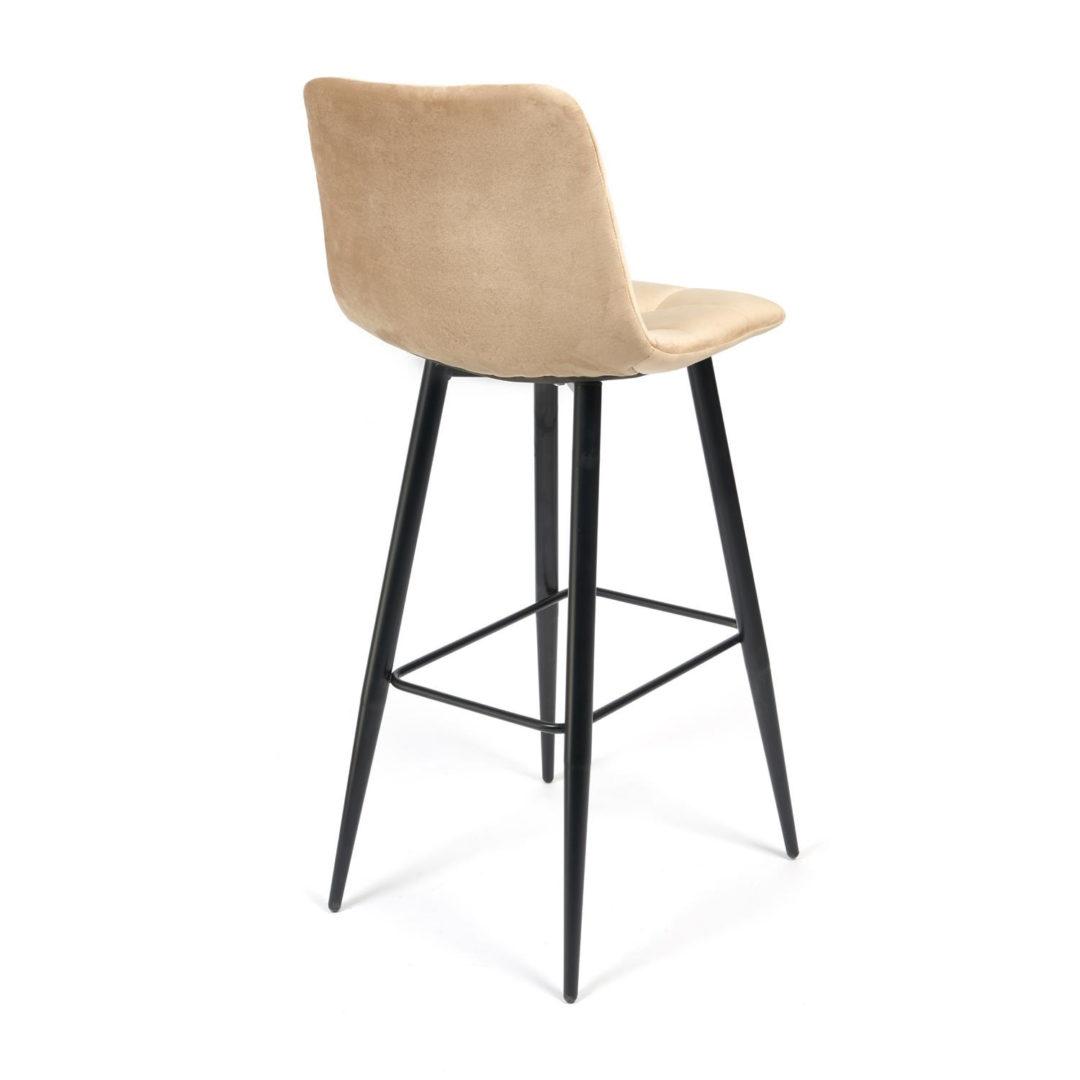 Стул барный CHILLY (mod.7095) ткань/металл, 50х44х104 см, высота до сиденья 76 см, бежевый barkhat 5/черный (14354)