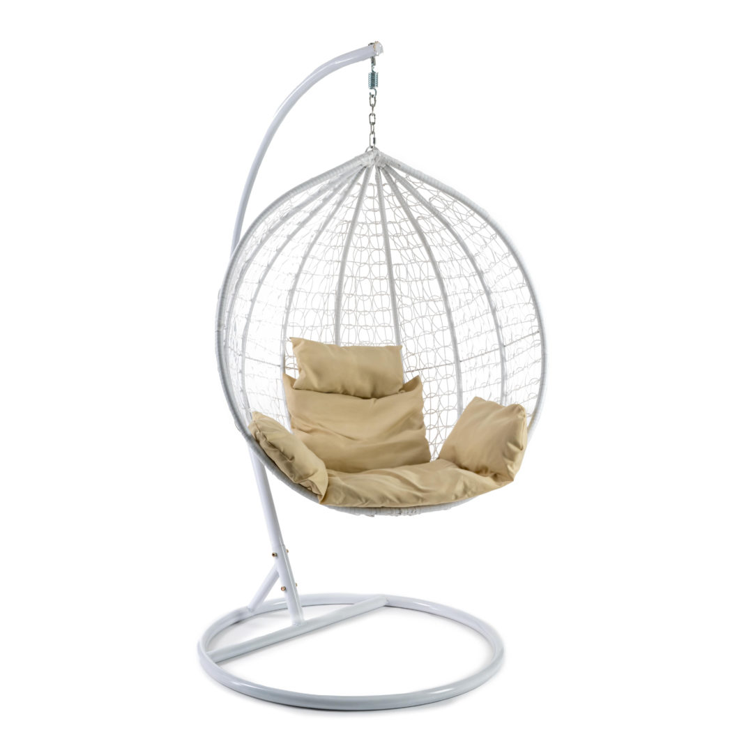 Кресло подвесное (mod. SC-001) с подушкой Металл/Искусственный ротанг, стойка:105х105х195см корзина:105х68х118см, стойка:белый,корзина:белый, (14234)