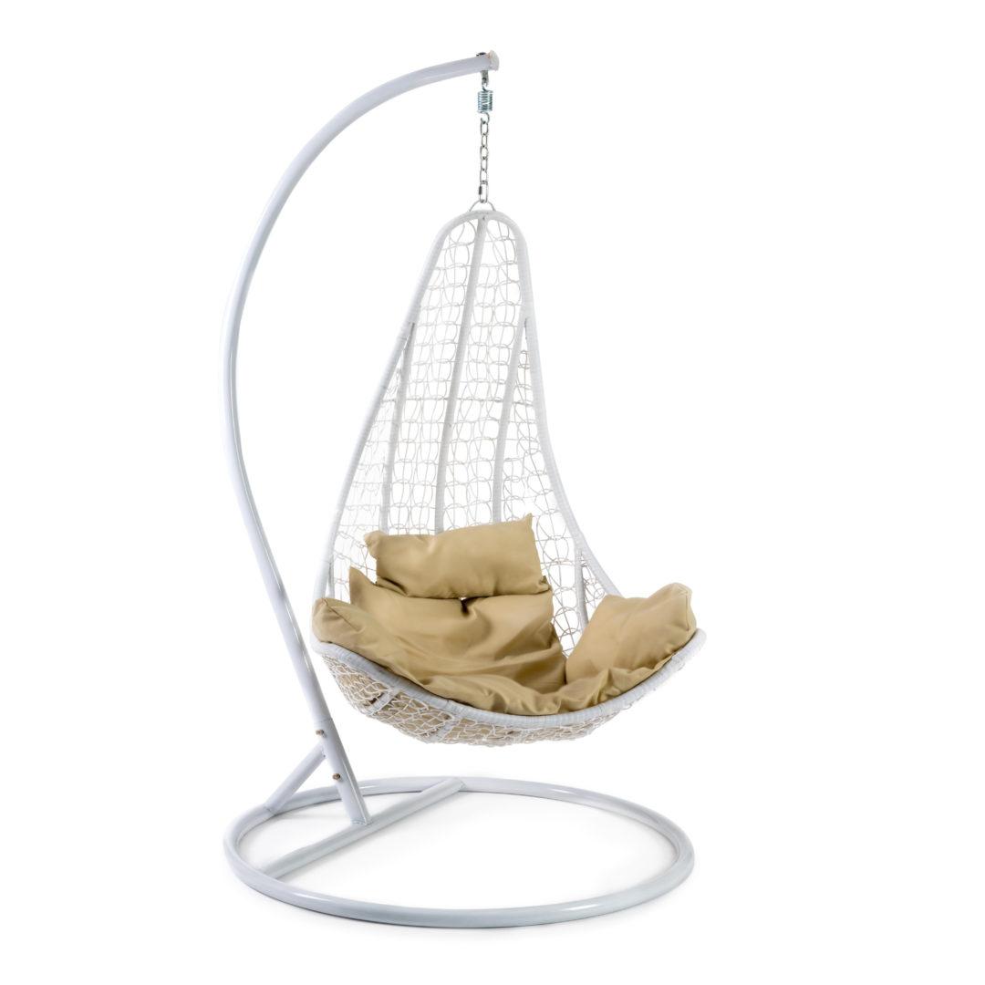 Кресло подвесное (mod. SC-010) с подушкой Металл/Искусственный ротанг, стойка:105х105х195см корзина:78х68х125см, стойка:белый,корзина:белый, п (14241)