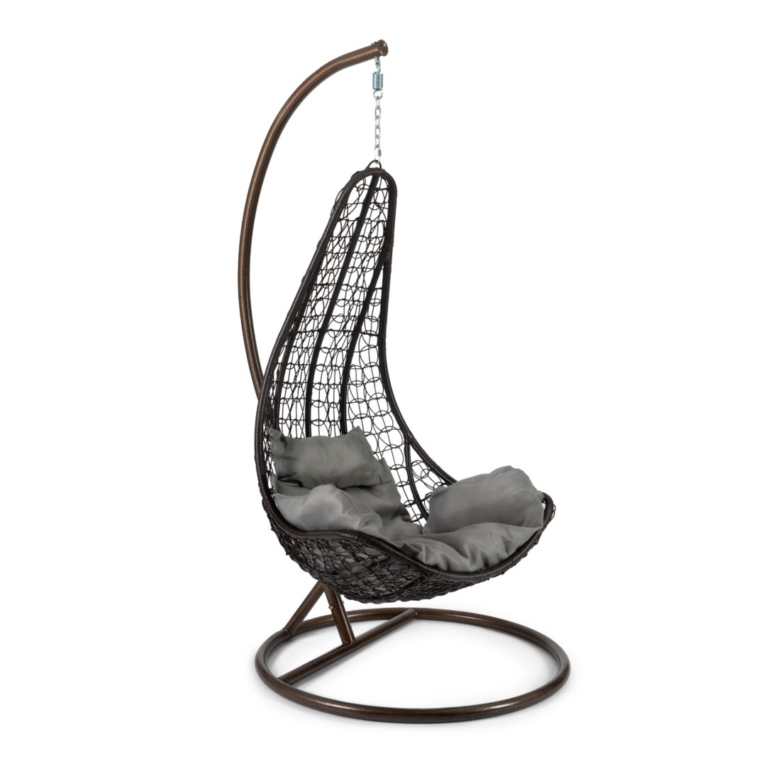 Кресло подвесное (mod. SC-010) с подушкой Металл/Искусственный ротанг, стойка:105х105х195см корзина:78х68х125см, стойка:медный,корзина:коричне (14242)